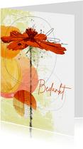 Bedankkaart oranje bloem cirkels