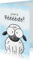 Bedankkaart schaap - Jij bent de bèèèèste!!