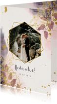 Bedankkaart stijlvol met foto, waterverf en gouden bloemen
