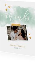 Bedankkaart 'THANKS' met waterverf, gouden hartjes en foto