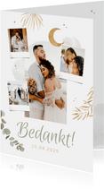 Bedankkaart trouwen Arabisch goud zon eucalyptus foto's