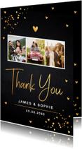 Bedankkaart trouwen fotocollage goud confetti