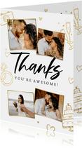 Bedankkaart trouwen hip trendy goud doodle foto's