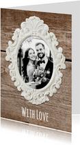 Bedankkaart trouwen hout met lijst - SG