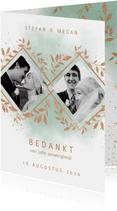 Bedankkaart trouwfeest met foto's, waterverf en takjes
