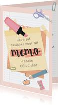Bedankkaart voor de juf voor een 'memorabel' schooljaar.