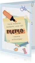 Bedankkaart voor de meester voor een 'memorabel' schooljaar.