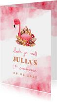 Bedankkaartje communie flamingo met waterverf