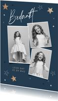 Bedankkaartje communie jongen meisje sterren fotocollage