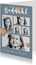 Bedankkaartje communie lentefeest fotocollage houten hartjes