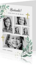 Bedankkaartje communie vormsel fotocollage christelijk goud