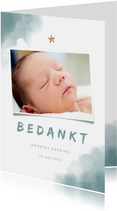 Bedankkaartje doop blauwe waterverf, ster en foto