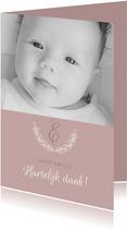 Bedankkaartje doop foto & initaal oudroze