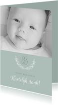 Bedankkaartje doop foto & initiaal groen