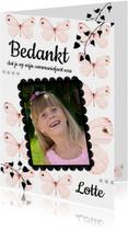 Bedankkaartje Eerste Communie met lieve roze vlinders