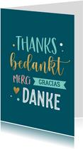 Bedankkaartje in verschillende talen