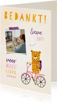Bedankkaartje juf luipaardje op fiets met foto