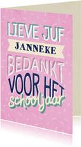 Bedankkaartje juf typografisch met naam en confetti
