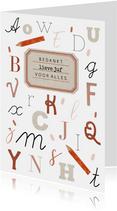 Bedankkaartje lieve juf met alfabet letters en vintage label