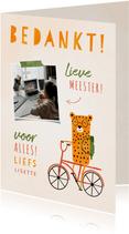 Bedankkaartje meester luipaardje op fiets met foto