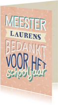 Bedankkaartje meester typografisch met naam en confetti