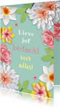 Bedankkaartje met bloemen juf