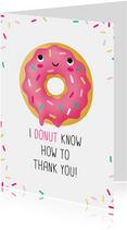 Bedankt kaart donut grappig humor