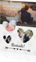 Bedanktkaartje bruiloft met foto's en hartjes