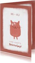 Beterschap grappig kaartje poesje met pleister MiAU