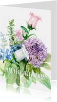 Beterschapkaart met bloemen aquarel schilderij
