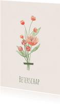 Beterschapskaart boeket rode tint bloemen