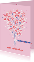 Beterschapskaart bos bloemen roze