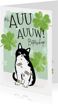 Beterschapskaart kat met pleisters en klavertjes vier