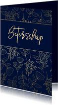Beterschapskaart klassiek donkerblauw met gouden bloemen