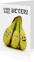 Beterschapskaart met bananen met gezichtjes