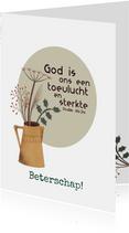 Beterschapskaart met bijbeltekst en droogbloemen