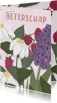 Beterschapskaart met bloemen en roze tinten