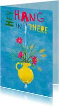 Beterschapskaart met boeketje bloemen met tekst