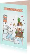 Beterschapskaart met een eekhoorn in een fruitmand