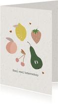 Beterschapskaart met fruit en kleine hartjes op karton