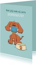 Beterschapskaart met hond, mondkapje en drinkbak