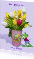 Beterschapskaart opkikker met tulpen in vaas