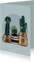 Beterschapskaart quarantaine cactussen met mondkapjes op