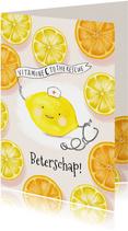 Beterschapskaart vitamines met grappig citroen karaktertje