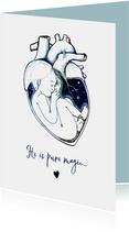 Bijzonder geboorte kaartje met illustratie voor een jongen
