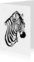 Bijzondere kaart met Zebra illustratie zwart-wit