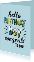 Birthday boy congrats - text color - verjaardagskaart