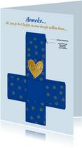 Blauw doosje met zonnetjes en tekst: Love You