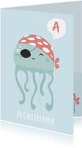 Blauwe kaart met octopus gefeliciteerd met je zwemdiploma