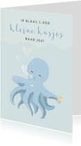Blauwe liefde kaart voor een jongen met octopus